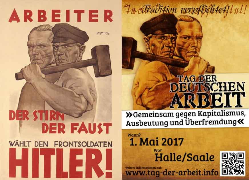 Wahlplakat NSDAP und Flyer Neonazis 1. Mai 2017 Halle